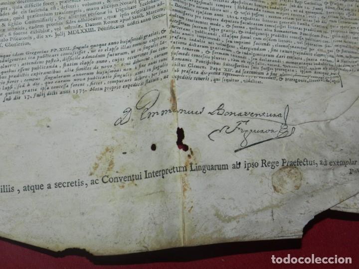 Arte: (M) PERGAMINO CON GRABADO DE ZARAGOZA AÑO 1774 D. EMMANUEL BONAVENTURA FIGUEROA - Foto 8 - 177183964