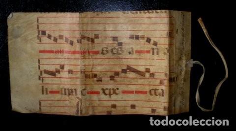 CARPETILLA DE PERGAMINO CON NOTACIÓN MUSICAL -CANTORAL- IGLESIA DEL SANTO SEPULCRO. 37X20 (ABIERTA) (Arte - Manuscritos Antiguos)