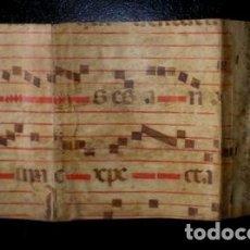 Art: CARPETILLA DE PERGAMINO CON NOTACIÓN MUSICAL -CANTORAL- IGLESIA DEL SANTO SEPULCRO. 37X20 (ABIERTA). Lote 181917883