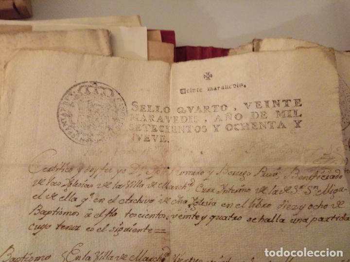 MANUSCRITOS CON SELLO AÑO 1789 SELLO CUARTO (Arte - Manuscritos Antiguos)