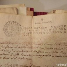 Arte: MANUSCRITOS CON SELLO AÑO 1789 SELLO CUARTO. Lote 191761503