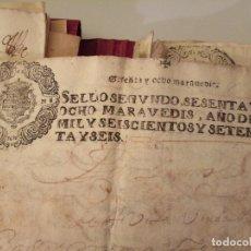 Arte: MANUSCRITOS CON SELLO AÑO 1676 SELLO SEGUNDO. Lote 191763467