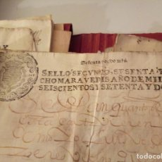 Arte: MANUSCRITOS CON SELLO AÑO 1672 SELLO SEGUNDO. Lote 191764508