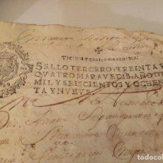 Arte: MANUSCRITOS CON SELLO AÑO 1689 SELLO TERCERO. Lote 191768686