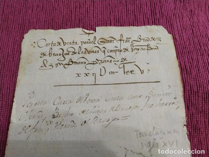 Arte: Siglo XVI. Carta de venta. - Foto 2 - 193658971