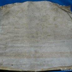 Arte: (M) DOCUMENTO PERGAMINO AÑO 1569 - NO PUEDO LEERLO, 60X65CM, SEÑALES DE USO. Lote 196900525