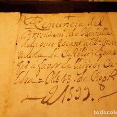 Arte: ANTIGUO MANUSCRITO EN LATÍN DE RENUNCIA DEL UN ARRENDAMIENTO DE ALTAFULLA 13-AGOSTO-1599. Lote 199785066