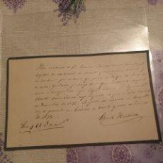 Arte: AÑO 1872. MANUSCRITO CARTA DE LUTO PAGO AL DUQUE DE FERIA ZAFRA BADAJOZ.. Lote 200178712