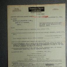 Arte: GUERRA CIVIL BANKER TRUST COMPANY DOCUMENTOS AÑO 1938 MOVIMIENTO DE SALDOS VIA MÉXICO. Lote 200545011