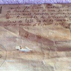 Arte: PERGAMINO ORIGINAL DE LA PROVINCIA DE GERONA DE 1538, VENTA DE TIERRAS. Lote 201864550