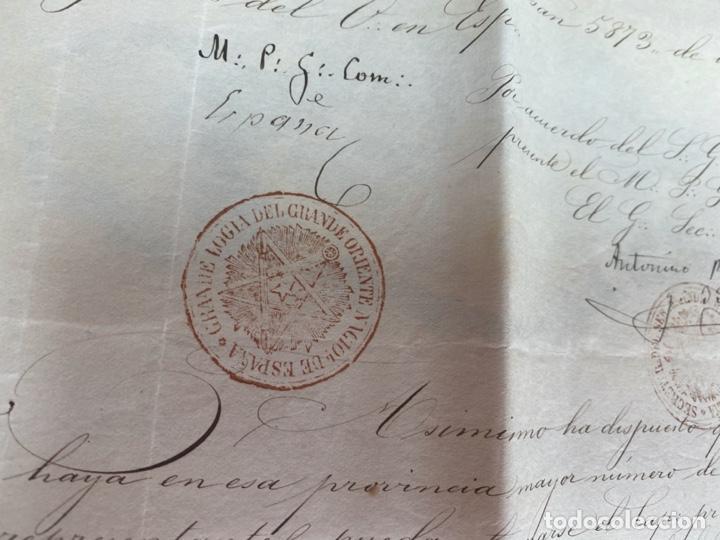 Arte: AÑO 1873.- MASONERIA ESPAÑOLA. GRAN ORIENTE DE ESPAÑA. MANUSCRITO. LOGIA ESTRELLA DEL NORTE BILBAO. - Foto 3 - 202693531