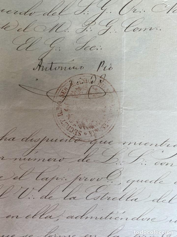 Arte: AÑO 1873.- MASONERIA ESPAÑOLA. GRAN ORIENTE DE ESPAÑA. MANUSCRITO. LOGIA ESTRELLA DEL NORTE BILBAO. - Foto 4 - 202693531