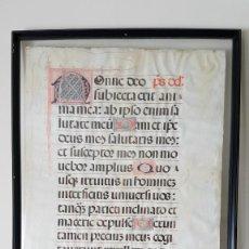 Arte: ANTIGUO PERGAMINO MANUSCRITO EN LATÍN SOBRE DIOS, SIGLO XVI-XVII, 94X64 CM. ANTIFONARIO Ó MISAL.. Lote 204064088