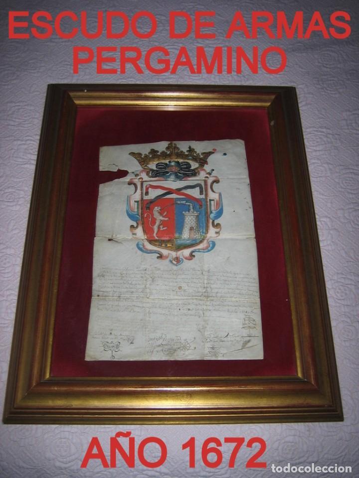 ESCUDO DE ARMAS PINTADO EN ACUARELA Y ORO SOBRE PERGAMINO SIGLO XVII AÑO 1672 ENMARCADO CON CRISTAL (Arte - Manuscritos Antiguos)