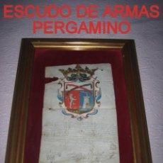 Arte: ESCUDO DE ARMAS PINTADO EN ACUARELA Y ORO SOBRE PERGAMINO SIGLO XVII AÑO 1672 ENMARCADO CON CRISTAL. Lote 205595213