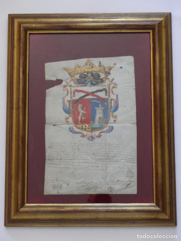 Arte: ESCUDO DE ARMAS PINTADO EN ACUARELA Y ORO SOBRE PERGAMINO SIGLO XVII AÑO 1672 ENMARCADO CON CRISTAL - Foto 4 - 205595213