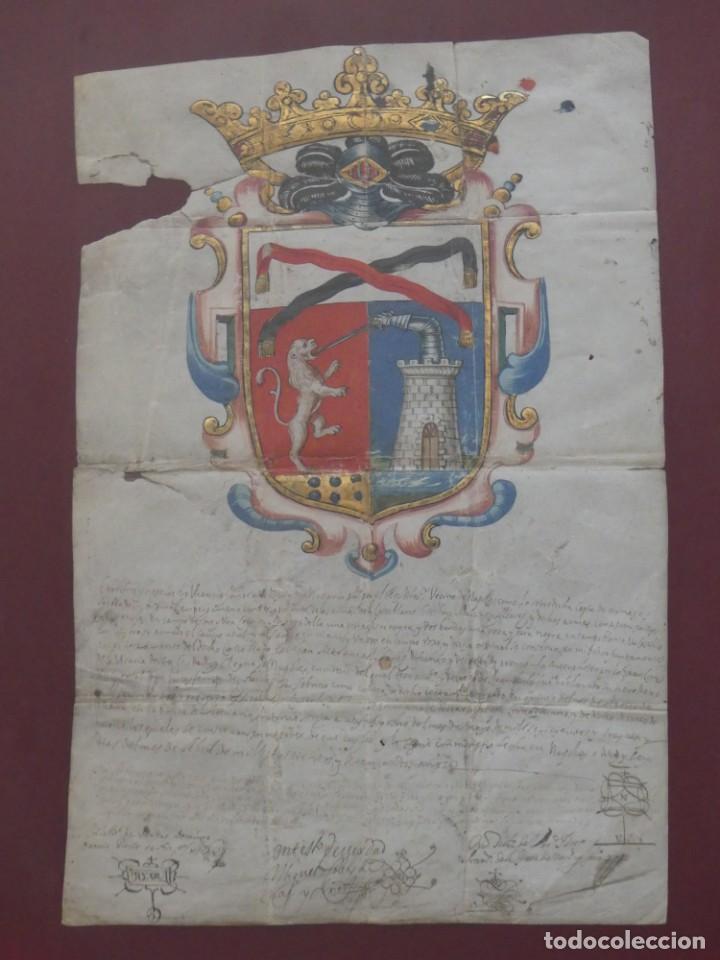 Arte: ESCUDO DE ARMAS PINTADO EN ACUARELA Y ORO SOBRE PERGAMINO SIGLO XVII AÑO 1672 ENMARCADO CON CRISTAL - Foto 5 - 205595213