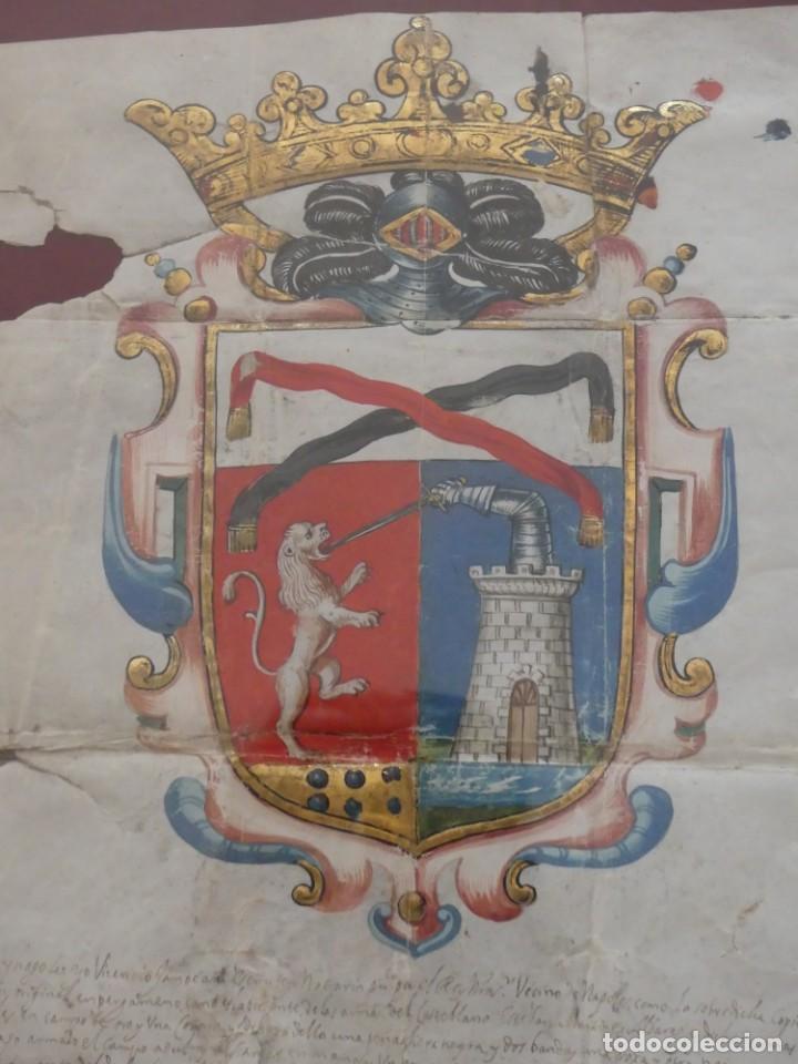 Arte: ESCUDO DE ARMAS PINTADO EN ACUARELA Y ORO SOBRE PERGAMINO SIGLO XVII AÑO 1672 ENMARCADO CON CRISTAL - Foto 7 - 205595213