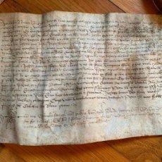 Arte: ANTIGUO PERGAMINO, AÑO 1477, STA EULALIA DE RIUPRIMER, OSONA ANCIENT PARCHMENT, EN PIEL. 23X15CMS. Lote 205759555