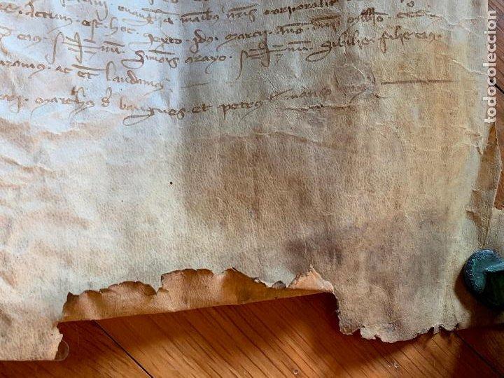Arte: ANTIGUO PERGAMINO, ANCIENT PARCHMENT, EN PIEL. INTERESANTES FIRMAS Y CAPITULAR. Mide aprox 34x28cms - Foto 13 - 205762433