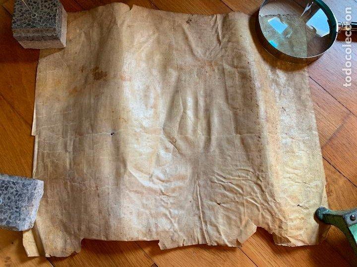 Arte: ANTIGUO PERGAMINO, ANCIENT PARCHMENT, EN PIEL. INTERESANTES FIRMAS Y CAPITULAR. Mide aprox 34x28cms - Foto 16 - 205762433
