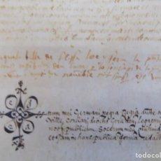 Arte: LIBRERIA GHOTICA. PERGAMINO MANUSCRITO DEL SIGLO XV. AÑO 1482.VENDA DE TIERRA DE ULTRAMAR.42 X 32 CM. Lote 205820088