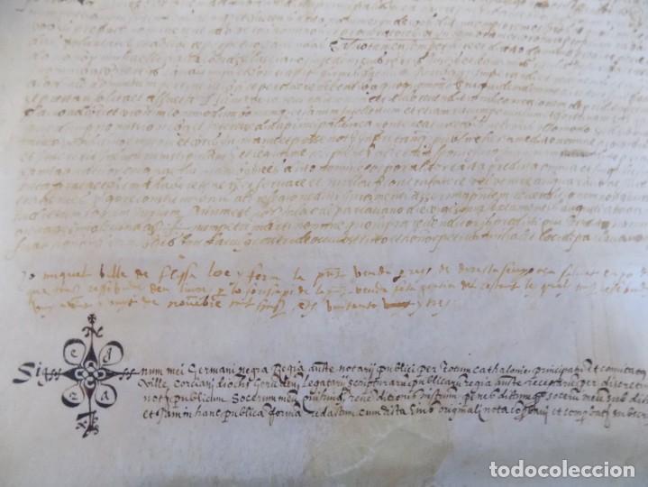 Arte: LIBRERIA GHOTICA. PERGAMINO MANUSCRITO DEL SIGLO XV. AÑO 1482.VENDA DE TIERRA DE ULTRAMAR.42 X 32 CM - Foto 3 - 205820088