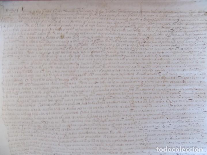 Arte: LIBRERIA GHOTICA. GRAN PERGAMINO MANUSCRITO DEL S. XVI. 1586.SANT JULIÀ DE RAMIS. BORDILS 73 X 34 CM - Foto 2 - 207030510
