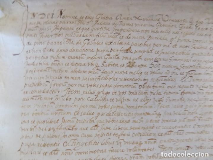 Arte: LIBRERIA GHOTICA. GRAN PERGAMINO MANUSCRITO DEL S. XVI. 1586.SANT JULIÀ DE RAMIS. BORDILS 73 X 34 CM - Foto 3 - 207030510