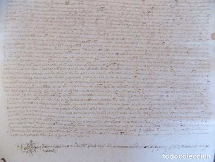 Arte: LIBRERIA GHOTICA. GRAN PERGAMINO MANUSCRITO DEL S. XVI. 1586.SANT JULIÀ DE RAMIS. BORDILS 73 X 34 CM - Foto 4 - 207030510