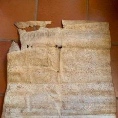 Arte: ANTIGUO PERGAMINO, ANCIENT PARCHMENT, EN PIEL. INTERESANTES FIRMAS. AÑO 1572. MIDE APROX 70X58. Lote 207648243