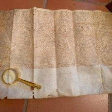 Arte: ANTIGUO PERGAMINO, AÑO 1550. ARTES, VILDECAVALLS. ANCIENT PARCHMENT, EN PIEL. MIDE 61X39CMS.. Lote 207656978