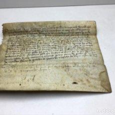 Arte: ANTIGUO PERGAMINO AÑO 1411 - CASTELL DE CALDERS - VILADECAVALLS - MANRESA - GUILLEM DE TAGAMANENT. Lote 212212180