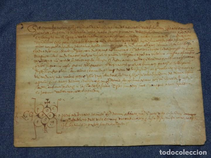(M) ANTIGUO PERGAMINO AÑO 1568 VILLA DE BISULDUNUM - BESALÚ - 19,5X14CM. ORIGINAL DE LA ÈPOCA (Arte - Manuscritos Antiguos)