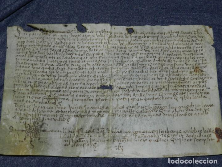 (M) ANTIGUO PERGAMINO VILLA CALIDARUM DE MONTE BONINO - CALDAS DE MONTBUI AÑO 1529, 28X18CM, (Arte - Manuscritos Antiguos)