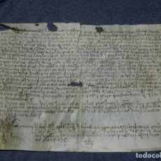 Arte: (M) ANTIGUO PERGAMINO VILLA CALIDARUM DE MONTE BONINO - CALDAS DE MONTBUI AÑO 1529, 28X18CM,. Lote 212522540