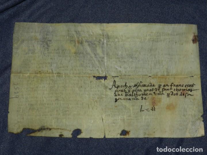 Arte: (M) ANTIGUO PERGAMINO VILLA CALIDARUM DE MONTE BONINO - CALDAS DE MONTBUI AÑO 1529, 28X18CM, - Foto 2 - 212522540