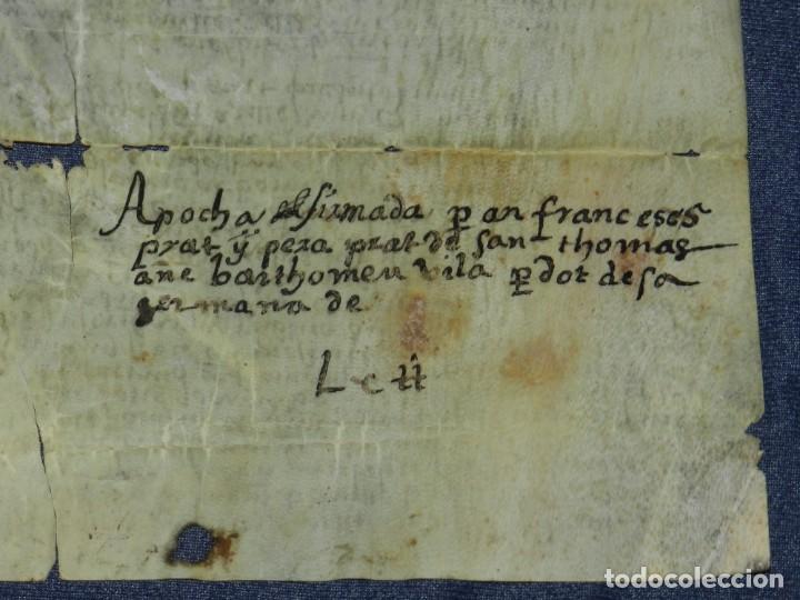 Arte: (M) ANTIGUO PERGAMINO VILLA CALIDARUM DE MONTE BONINO - CALDAS DE MONTBUI AÑO 1529, 28X18CM, - Foto 3 - 212522540