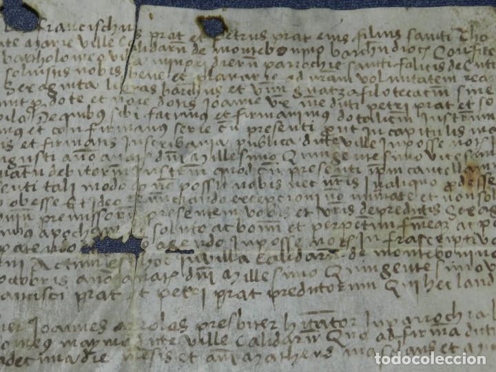 Arte: (M) ANTIGUO PERGAMINO VILLA CALIDARUM DE MONTE BONINO - CALDAS DE MONTBUI AÑO 1529, 28X18CM, - Foto 5 - 212522540