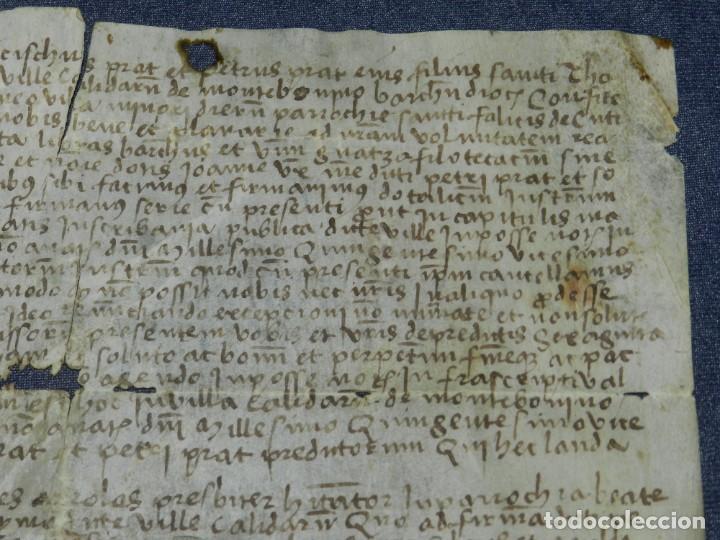 Arte: (M) ANTIGUO PERGAMINO VILLA CALIDARUM DE MONTE BONINO - CALDAS DE MONTBUI AÑO 1529, 28X18CM, - Foto 6 - 212522540