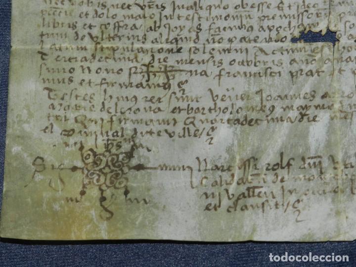 Arte: (M) ANTIGUO PERGAMINO VILLA CALIDARUM DE MONTE BONINO - CALDAS DE MONTBUI AÑO 1529, 28X18CM, - Foto 7 - 212522540