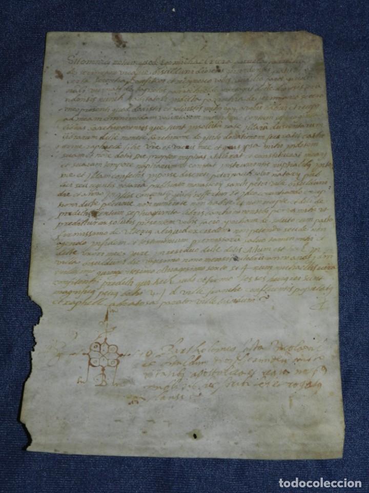 (M) ANTIGUO DOCUMENTO PERGAMINO MEDIEVAL MANUSCRITO SOBRE PERGAMINO BISULDUM/BISULDUNUM BESALÚ 14?6 (Arte - Manuscritos Antiguos)