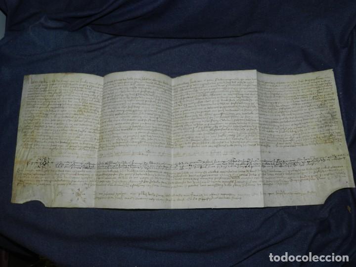 (M) DOCUMENTO PERGAMINO AÑO 1509 SANT JOAN DE LES ABADESSES - 64X25CM (Arte - Manuscritos Antiguos)