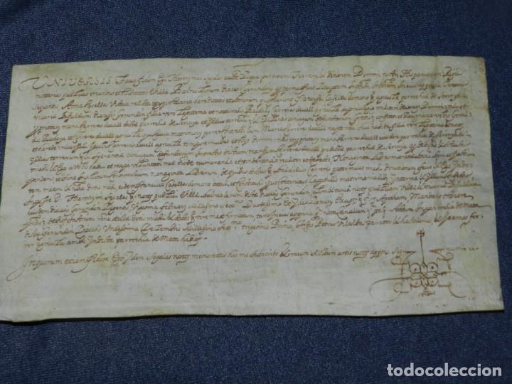 (M) ANTIGUO PERGAMINO AÑO 1631 PARROQUIA DE MATA, PORQUERES PLA DE L'ESTANY, GERONA (Arte - Manuscritos Antiguos)