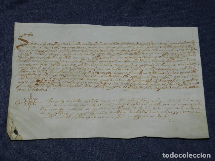 ANTIGUO PERGAMINO MANUSCRITO MEDIEVAL AÑO 1624 - 23X15CM. .- ORIGINAL DE LA ÉPOCA (Arte - Manuscritos Antiguos)