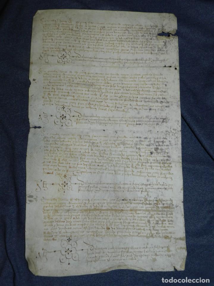 ANTIGUO PERGAMINO MANUSCRITO MEDIEVAL AÑO 1492 GERUNDE / GERONA - 41X24CM. .- ORIGINAL DE LA EPOCA (Arte - Manuscritos Antiguos)