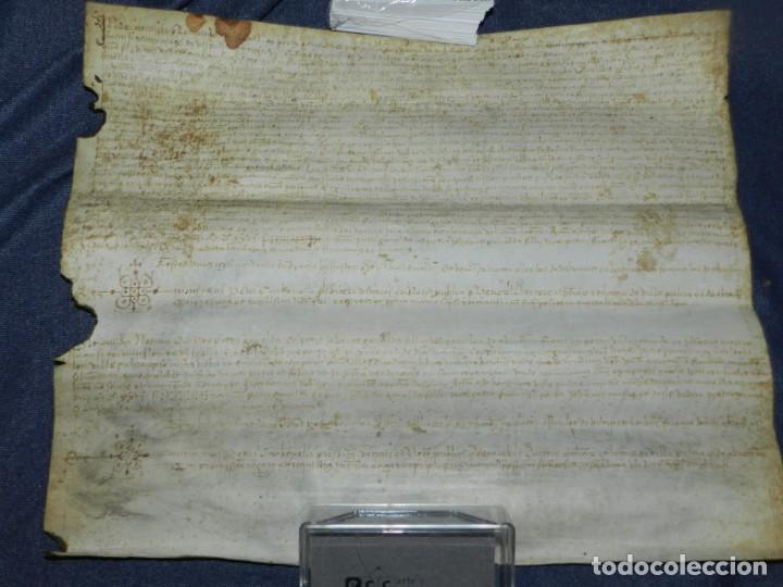 ANTIGUO PERGAMINO MANUSCRITO MEDIEVAL 1526 - 36X30CM. .- ORIGINAL DE LA EPOCA (Arte - Manuscritos Antiguos)