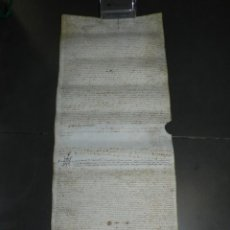 Arte: (M) PERGAMINO MEDIEVAL DE VALLS TARRAGONA AÑO 1717 - 35X80CM, SEÑALES DE USO. Lote 213062403
