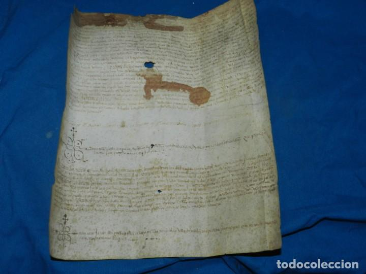(M) PERGAMINO MEDIEVAL AÑO 1585 VILLE DE VILLIBUS - VALLS TARRAGONA - 30,5X36CM (Arte - Manuscritos Antiguos)
