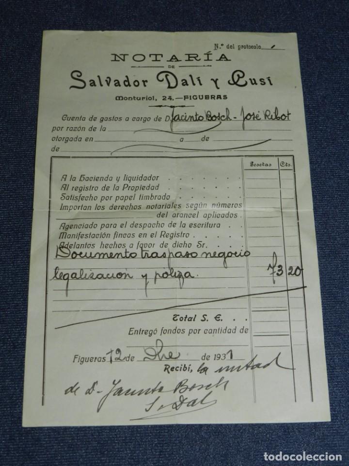 (M) SALVADOR DALÍ Y CUSI, AUTOGRAFO ORIGINAL 1931, NOTARÍA DE SALVADOR DALÍ Y CUSÍ (Arte - Manuscritos Antiguos)